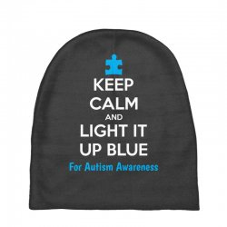 Keep Calm And Light It Up Blue For Autism Awareness Baby Beanies | Artistshot