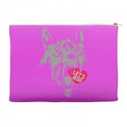 screaming wolf love you Accessory Pouches | Artistshot