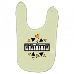 music,keyboard,electronic,piano,triangle,reflections,cute,vectorart, Baby Bibs | Artistshot