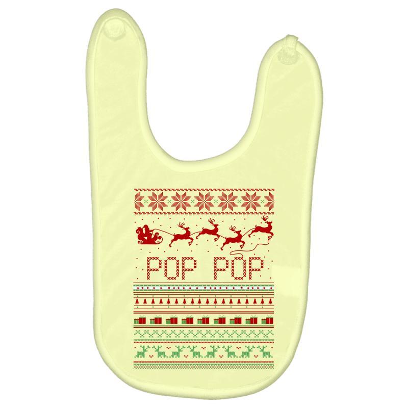 d20d9c35bfdc5 Custom Pop Pop Ugly Christmas Sweater Xmas Baby Bibs By Rardesign -  Artistshot