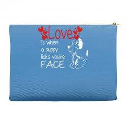 love is when a puppy Accessory Pouches | Artistshot