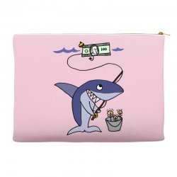 funny shark fishing for humans Accessory Pouches | Artistshot