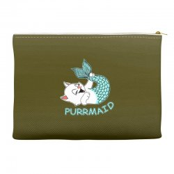 funny purr maid cat mermaid Accessory Pouches | Artistshot