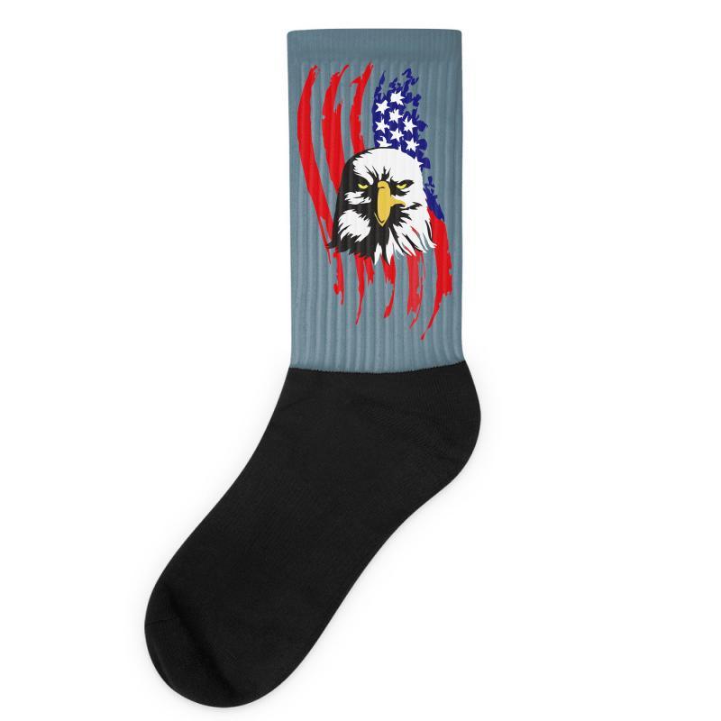 107015237 Custom American Eagle Usa Flag Head Socks By Sbm052017 - Artistshot