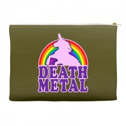 funny death metal unicorn rainbow Accessory Pouches | Artistshot