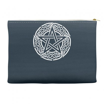The Pentagram Star In Celtic Circle Accessory Pouches Designed By Gematees