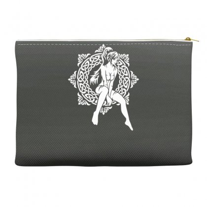 A Girl And A Celtic Pattern Accessory Pouches Designed By Gematees