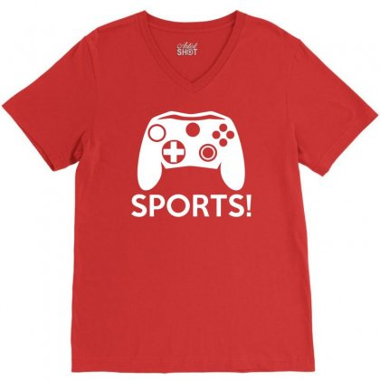 Sports Video Games V-neck Tee Designed By Mdk Art