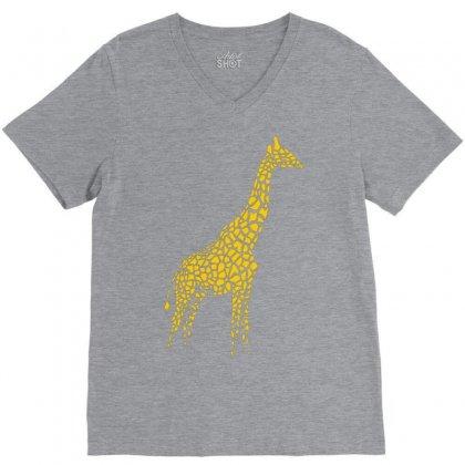 Giraffe V-neck Tee Designed By Mdk Art