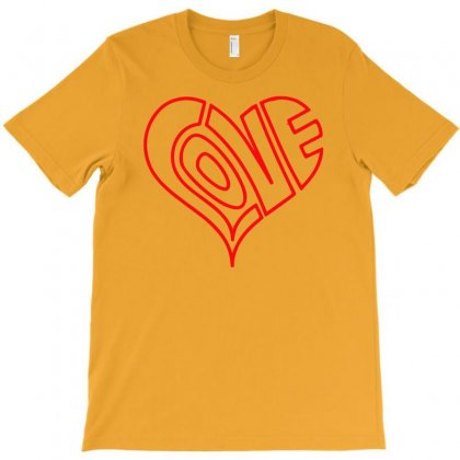 Love Heart Outline Valentine's Day T-shirt Designed By Mdk Art