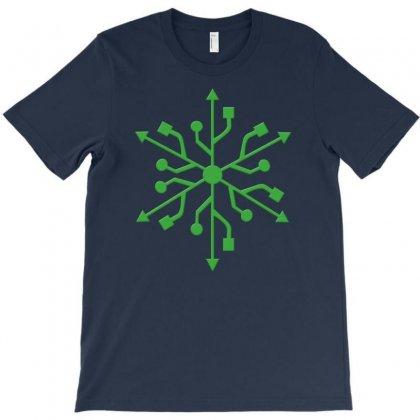 Snowflake Geek Usb Green T-shirt Designed By Rita