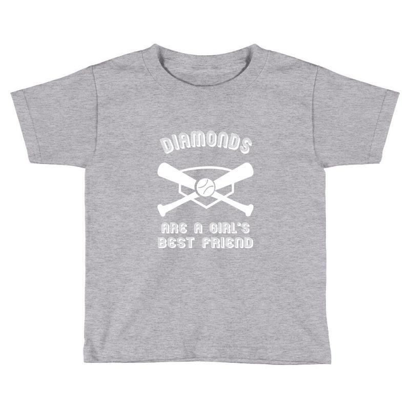 55193f0f diamonds are a girls best friend girls softball shirt funny women spor  Toddler T-shirt
