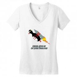 never give up poster Women's V-Neck T-Shirt   Artistshot