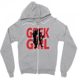 geek girl 3 4 sleeve baseball Zipper Hoodie | Artistshot