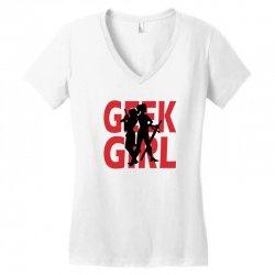 geek girl 3 4 sleeve baseball Women's V-Neck T-Shirt | Artistshot