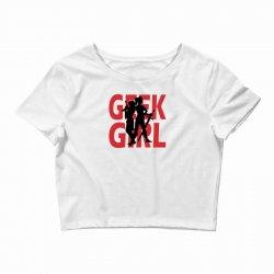 geek girl 3 4 sleeve baseball Crop Top | Artistshot