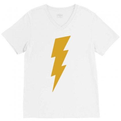 Lightning Bolt Camera Flash V-neck Tee Designed By Mdk Art