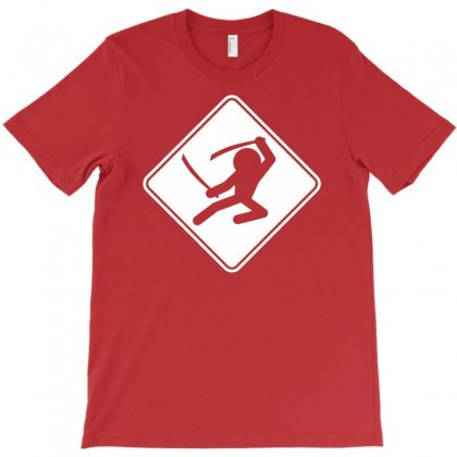 Ninja Crossing Sign T-shirt Designed By Mdk Art