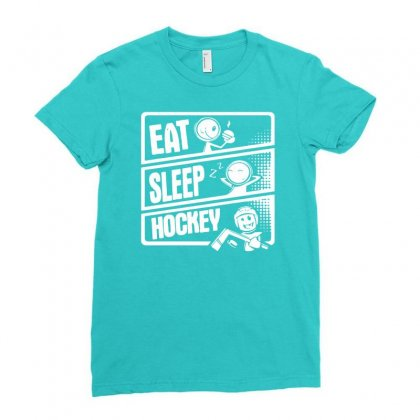 V3 Eat Sleep Hockey Ladies Fitted T-shirt Designed By Mdk Art