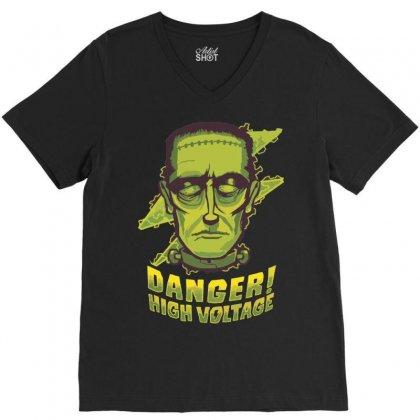 Halloween Frankenstein V-neck Tee Designed By Sbm052017