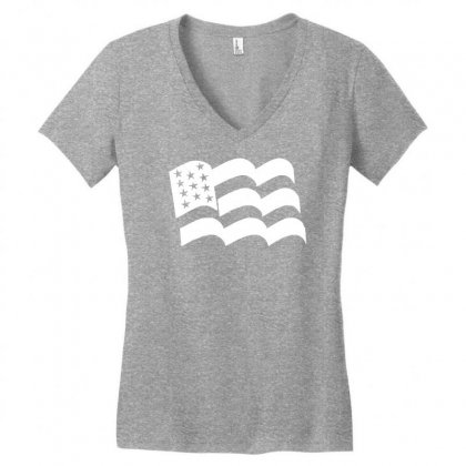 American Flag Sticker Vinyl Decal   Usa Stars United States Country Ca Women's V-neck T-shirt Designed By Mdk Art