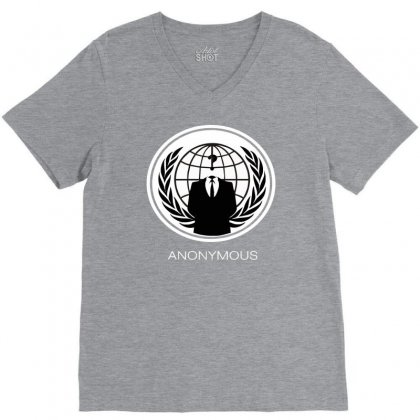 Anonymous Group Occupy Hacktivist Pipa Sopa Acta   V For Vendetta V-neck Tee Designed By Mdk Art