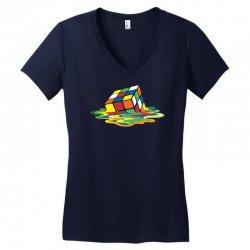 big bang theory sheldon cooper melting rubik's cube cool geek Women's V-Neck T-Shirt | Artistshot