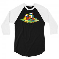 big bang theory sheldon cooper melting rubik's cube cool geek 3/4 Sleeve Shirt | Artistshot