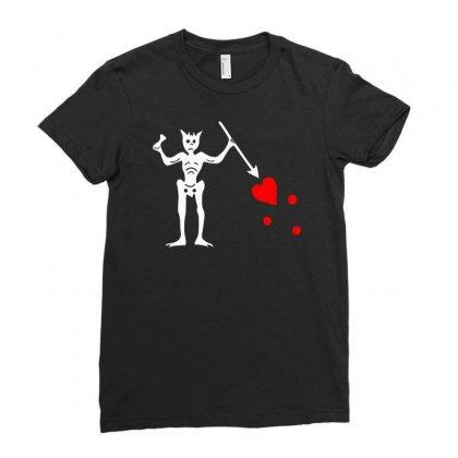 Blackbeard's Flag Pirate Edward Teach Ladies Fitted T-shirt Designed By Mdk Art