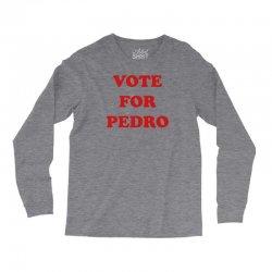 Napoleon Dynamite Officially Licensed Vote for Pedro Baseball Long Sleeve T-Shirt White//Black