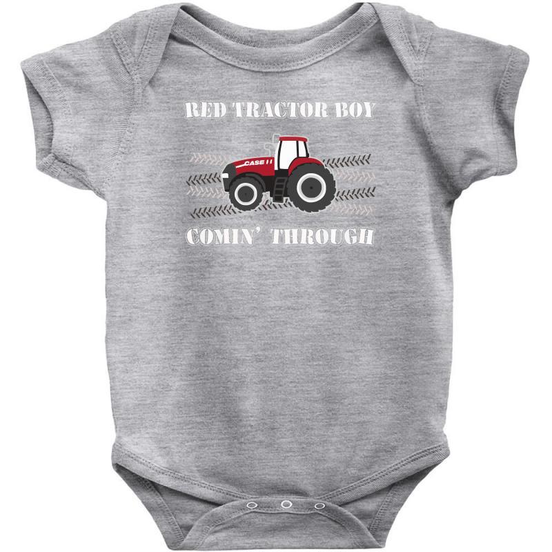 Case Ih Red Tractor Boy Comin' Through Baby Bodysuit | Artistshot