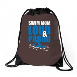 swim mom loud and proud sports athlete athletic Drawstring Bags | Artistshot