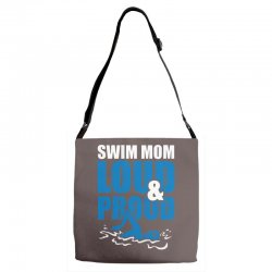 swim mom loud and proud sports athlete athletic Adjustable Strap Totes | Artistshot