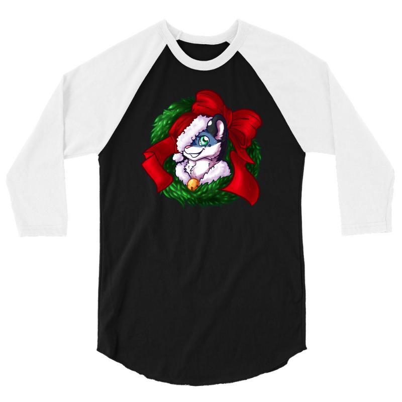 Christmas Wreath Bluebie Bust By Bluekazenate 3/4 Sleeve Shirt   Artistshot