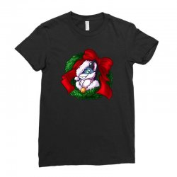 christmas wreath bluebie bust by bluekazenate Ladies Fitted T-Shirt   Artistshot