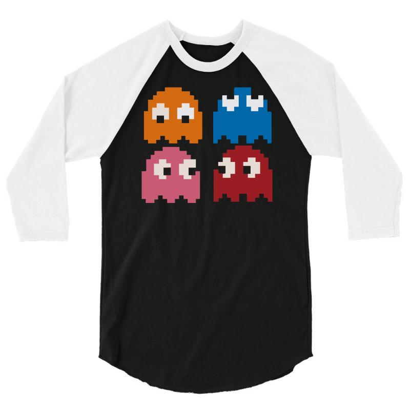 4aef0499 Custom Cool Retro 80s Pacman Ghosts Video Games 3/4 Sleeve Shirt By ...