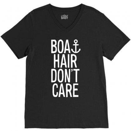 Boat Hair Don't Care (2) V-neck Tee Designed By Mdk Art