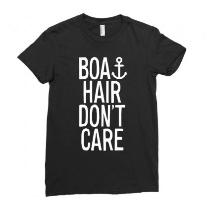 Boat Hair Don't Care (2) Ladies Fitted T-shirt Designed By Mdk Art