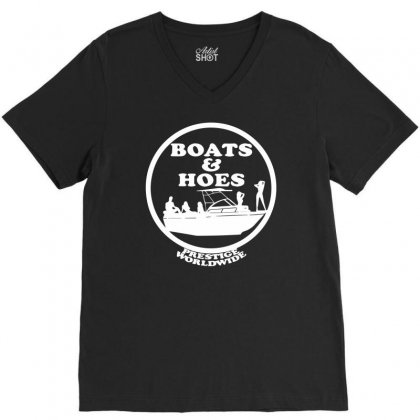 Boats And Hoes V-neck Tee Designed By Mdk Art