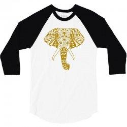 tribal print elephant geometric gold animals cool 3/4 Sleeve Shirt | Artistshot