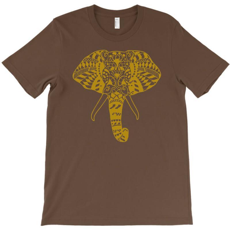 Tribal Print Elephant Geometric Gold Animals Cool T-shirt | Artistshot