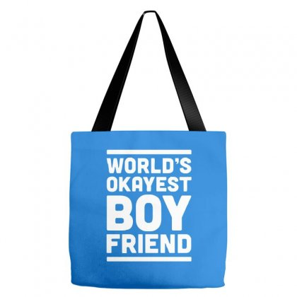 World's Okayest Boyfriend Couple Love Funny Tote Bags Designed By Cuser388