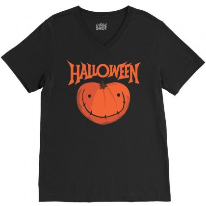 Halloween V-neck Tee Designed By Sbm052017