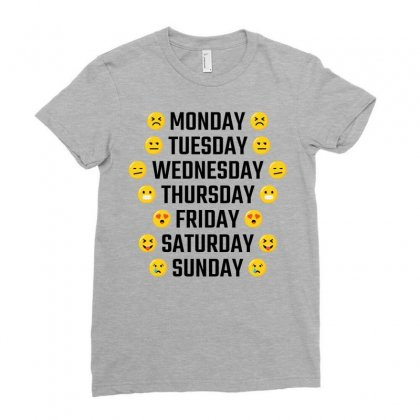 Emoji Days Of The Week Ladies Fitted T-shirt Designed By Tshiart