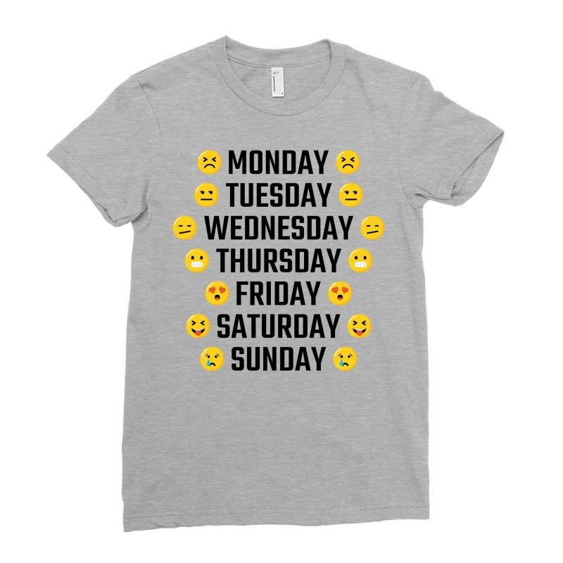 e7d033d9 Custom Emoji Days Of The Week Ladies Fitted T-shirt By Tshiart ...