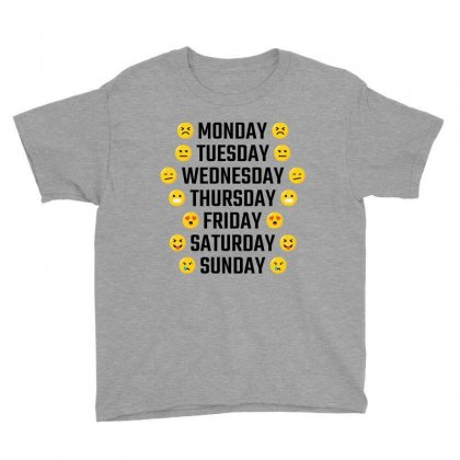 Emoji Days Of The Week Youth Tee Designed By Tshiart
