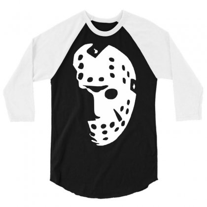 Halloween Hockey Mask 3/4 Sleeve Shirt Designed By Budi