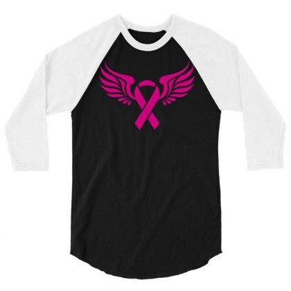 Breast Cancer Ribbon With Wing 3/4 Sleeve Shirt Designed By Budi