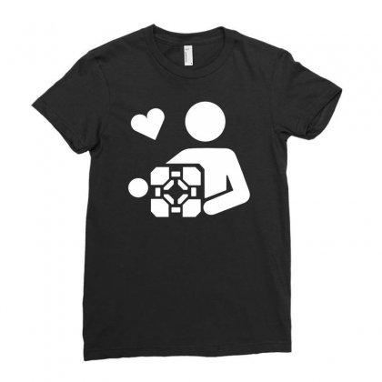Adesivo Companion Cube Portal Ladies Fitted T-shirt Designed By Budi
