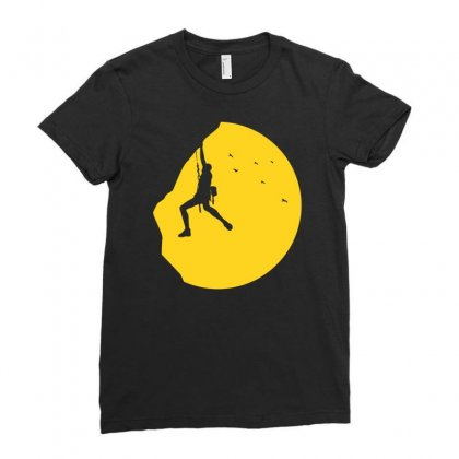 Adrenaline Addict Rock Climbing Ladies Fitted T-shirt Designed By Budi
